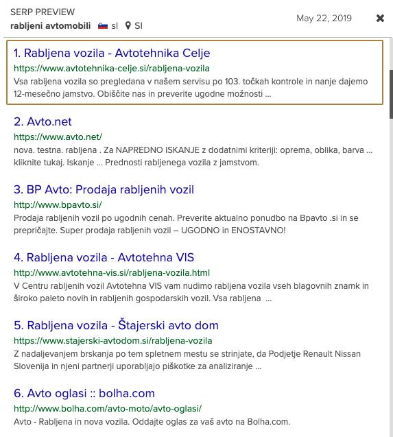 rezultati optimizacije spletne strani
